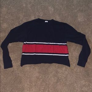 Navy blue, red and white cropped long sleeve